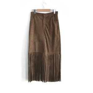 Dresses & Skirts - 100% Suede Fringe Skirt Upcycled